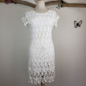 Acemi white dress lace crochet overlay